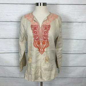 Symple NYC Beige Tunic S Long Sleeve Embroidered
